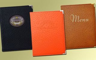 Couvertures à menu en imitation cuir d'autruche